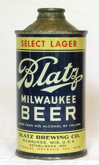 Blatz Beer Low Profile Cone Top Beer Can
