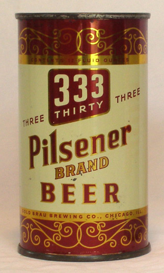 333 Pilsener Beer Flat Top Beer Can