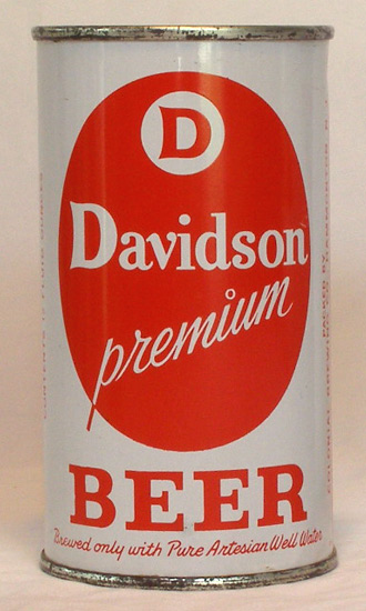 Davidson Beer Flat Top Beer Can