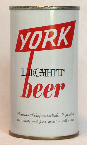 York Light Beer Flat Top Beer Can