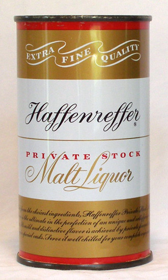 Haffenreffer Malt Liquor Flat Top Beer Can