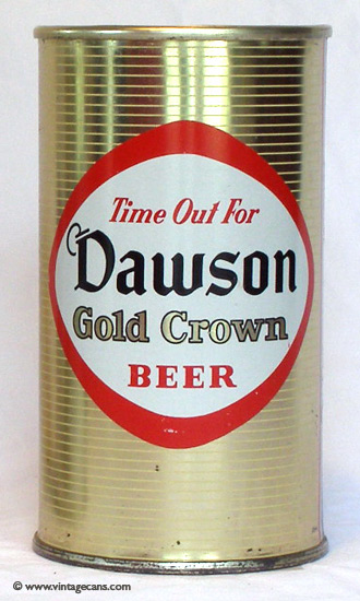 Dawson Gold Crown Beer Flat Top Beer Can