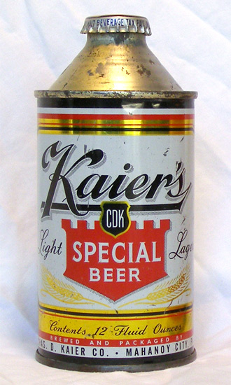 Kaiers Beer High Profile Cone Top Beer Can