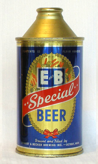E & B Beer High Profile Cone Top Beer Can
