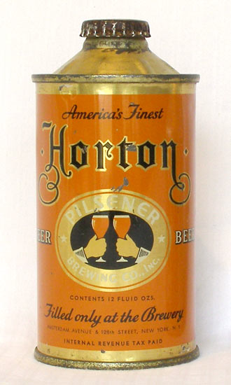 Horton Beer Low Profile Cone Top Beer Can