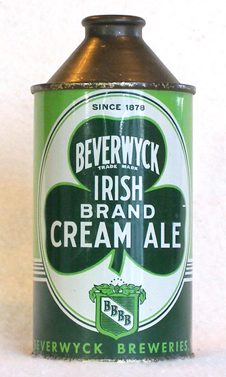 Beverwyck Irish Cream Ale High Profile Cone Top Beer Can