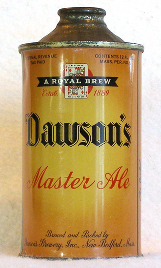 Dawson Master Ale Low Profile Cone Top Beer Can