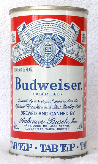 Budweiser Beer Tab Top Beer Can