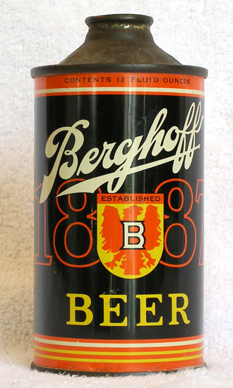 Berghoff Beer Low Profile Cone Top Beer Can