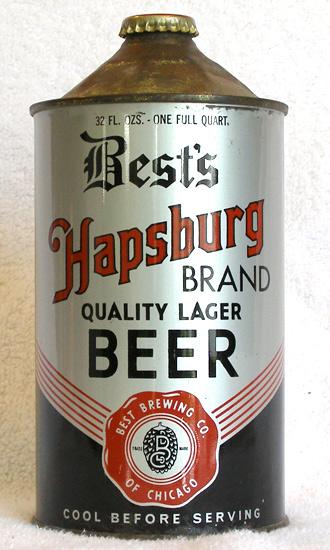 Bests Hapsburg Beer Quart Cone Top Beer Can