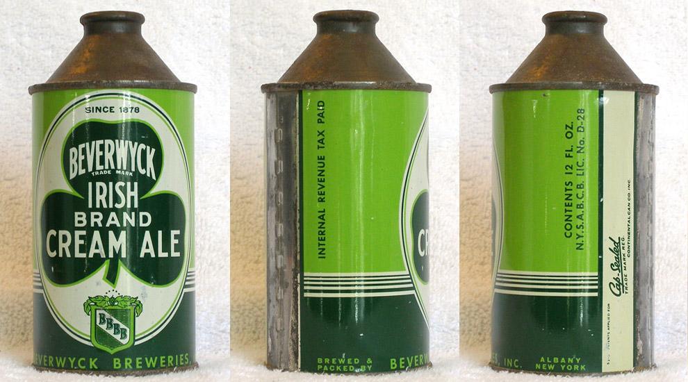 Beverwyck Irish Cream Ale High Profile Cone Top Beer Can