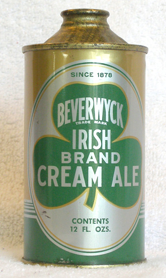 Beverwyck Irish Cream Ale Low Profile Cone Top Beer Can