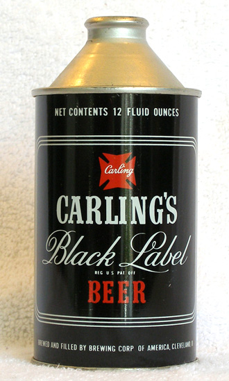 Black Label Beer High Profile Cone Top Beer Can