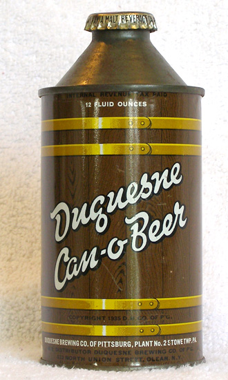 Duquesne Can O Beer High Profile Cone Top Beer Can