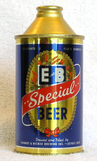 E and B Special Beer High Profile Cone Top Beer Can