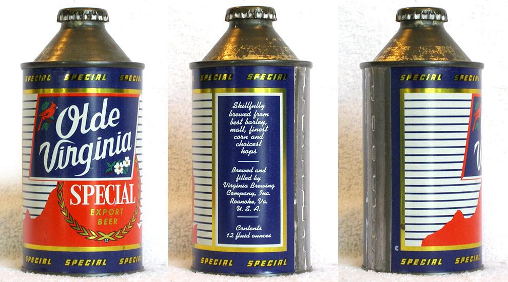 Olde Virginia Beer High Profile Cone Top Beer Can