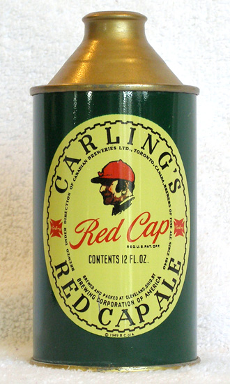 Red Cap Ale High Profile Cone Top Beer Can