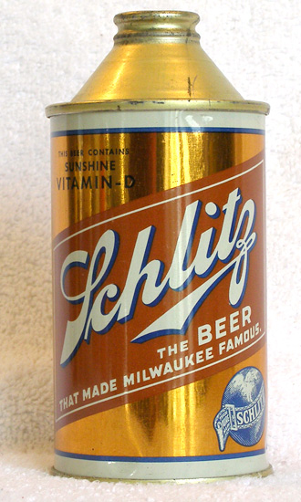 Schlitz Vit D Beer High Profile Cone Top Beer Can