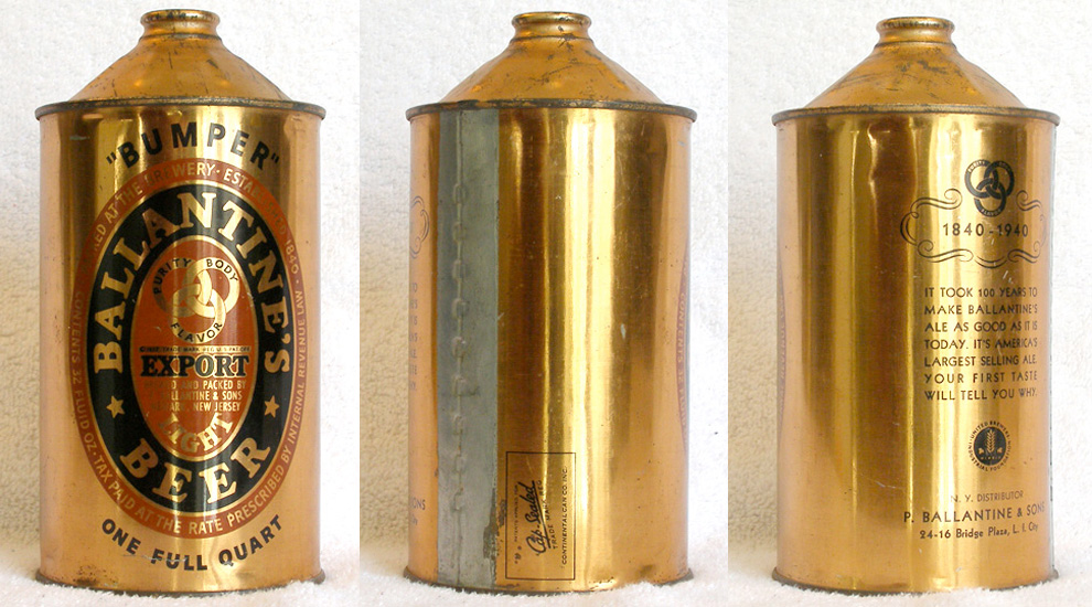 Ballantine Beer Quart Cone Top Beer Can