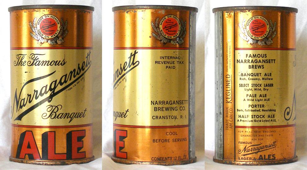 Narragansett Ale Flat Top Beer Can
