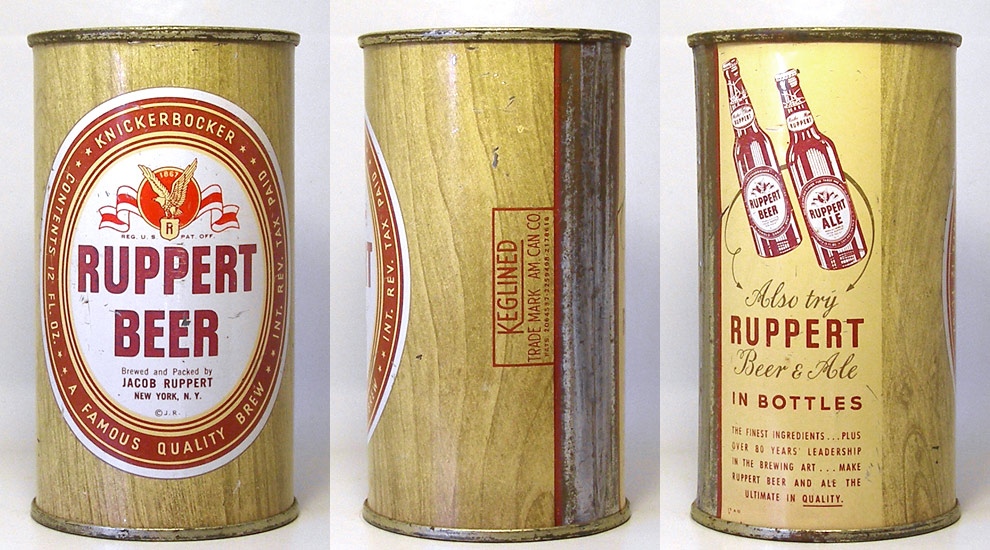 Ruppert Beer Flat Top Beer Can