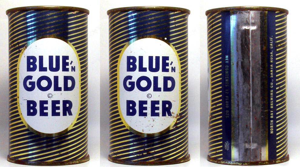 Blue n Gold Beer Flat Top Beer Can