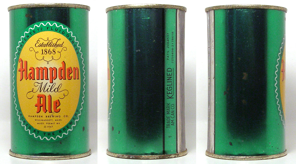 Hampden Ale Flat Top Beer Can