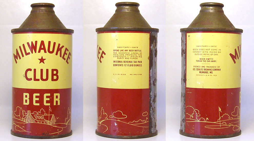 Milwaukee Club Beer High Profile Cone Top Beer Can 1665