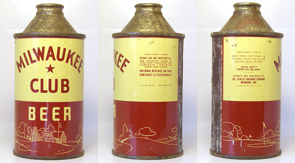 Milwaukee Club Beer High Profile Cone Top Beer Can