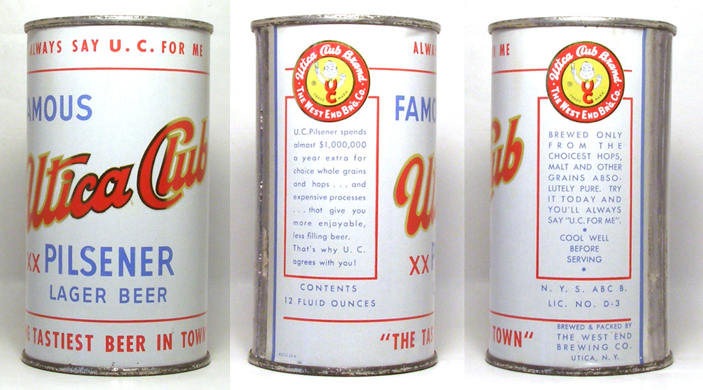 Utica Club Beer Flat Top Beer Can 1722