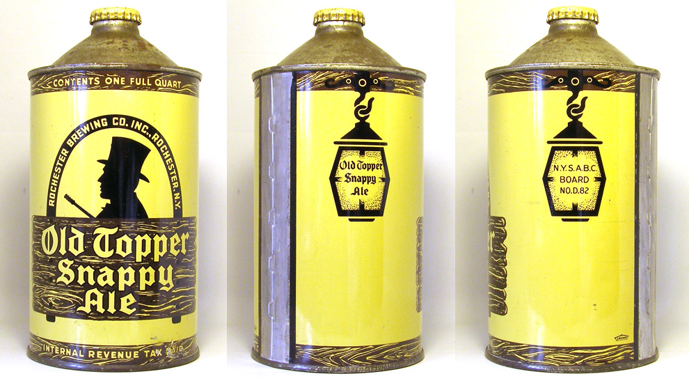 Old Topper Snappy Ale Quart Cone Top Beer Can 1745