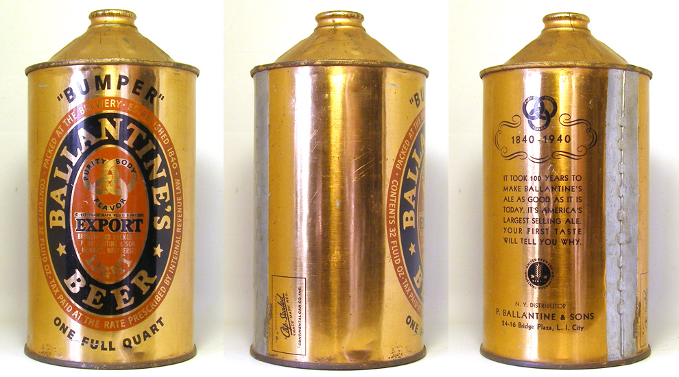 Ballantines Beer Quart Cone Top Beer Can 1746