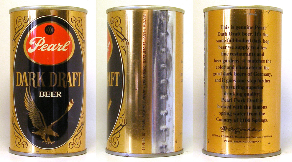 Pearl Dark Draft Tab Top Beer Can 1751