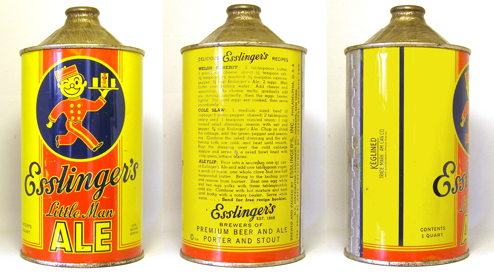 Esslingers Ale Quart Cone Top Beer Can 1759