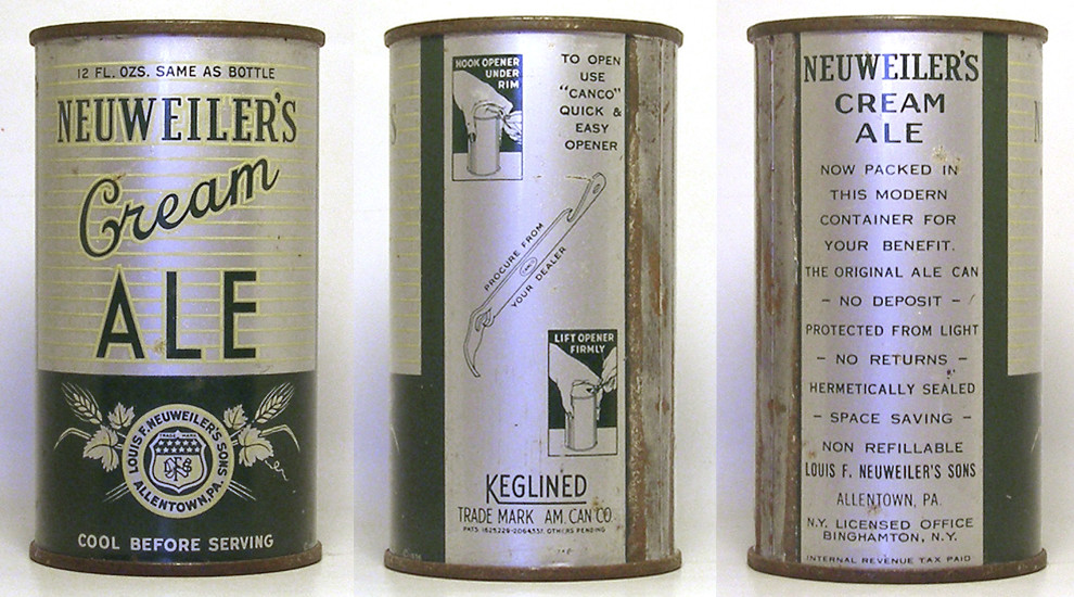 Neuweiler Ale Flat Top Beer Can 1765