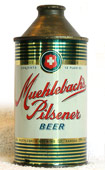 Muehlebach Beer  High Profile Cone Top Beer Can