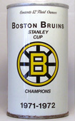 Black Label Bruins Beer  Tab Top Beer Can