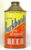 Burkhardts Export Beer  High Profile Cone Top Beer Can