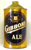 Gibbons Ale  Quart Cone Top Beer Can