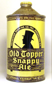 Old Topper Snappy Ale  Quart Cone Top Beer Can